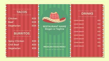 Mexicaans eten menu folder sjabloon Vector