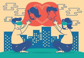 In love with technology illustration