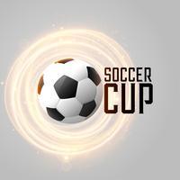 Fondo de copa de fútbol con fútbol y líneas brillantes