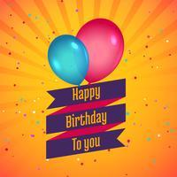 cartão de feliz aniversário comemoração com balões