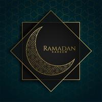 diseño premium de Ramadan Kareem islámico con luna creativa