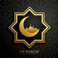 islamitische eid festival patroon achtergrond met maan en moskee des