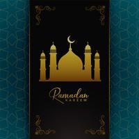 design de cartão islâmico ramadan kareem com mesquita dourada