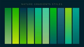 set of fresh green gradients background