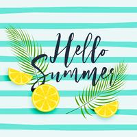 fresh lemon with leaves hellow summer background