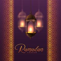 Linternas colgantes y diseño de patrón islámico para Ramadán Kareem.