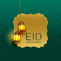 Hermoso eid mubarak saludo con lámparas colgantes