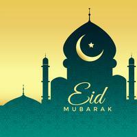 Mezquita silueta sobre fondo dorado para festival eid