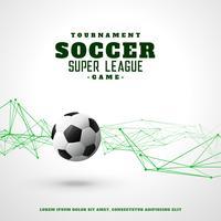 Fondo de futbol con líneas de alambre abstracto verde