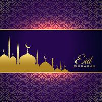 shiny eid mubarak holiday greeting with golden mosque