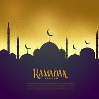 vacker moské på gyllene bakgrund, ramadan kareem hälsning
