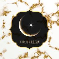 elegant eid festival hälsning design med måne och stjärna