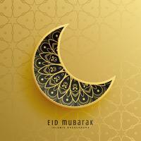 Fondo de decoración de luna de festival de eid oro creativo