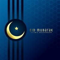 Saludo festivo de eid mubarak con luna dorada
