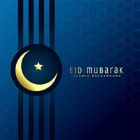 eid mubarak festival greeting with golden moon