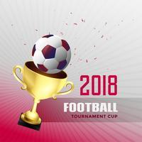 2018 voetbal wereldkampioenschap beker achtergrond met gouden trop