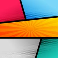 comic book page template with halftone and rays pop art effect