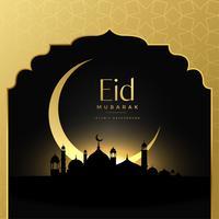 Fondo hermoso de la escena de oro de eid mubarak