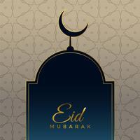 Eid Mubarak Festivalgruß mit Moschee und Mond
