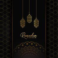 Diseño de tarjeta Ramadan Kareem con lámparas colgantes doradas.