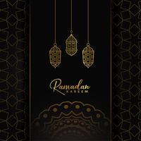 Ramadan Kareem Kartendesign mit hängenden goldenen Lampen