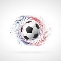 Campeonato de fútbol diseño de banner con remolino de partículas.