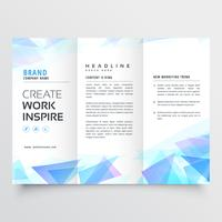 abstract blue triangle trifold brochure design