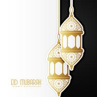 Impresionante diseño eid mubarak con lámparas colgantes.
