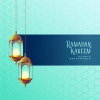 Ramadan Kareem Festival Kartendesign mit hängenden Laternen