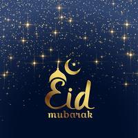 eid festival de mubarak cartão com estrelas e brilhos
