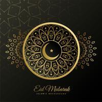 eid mubarak décoratif fond doré islamique
