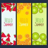 sommar frukter verticle banners set