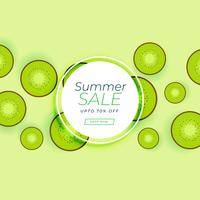 summer sale banner with kiwi green fruit