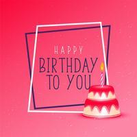 pastel de cumpleaños sobre fondo rosa