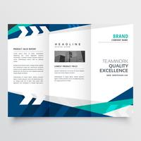 modern blue trifold business brochure design