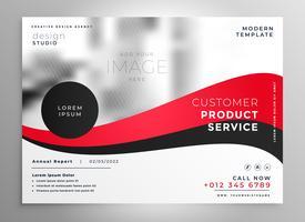 Fondo de plantilla de presentación de folleto de negocio rojo brillante
