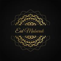 eid mubarak islamic design in golden color