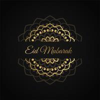 eid mubarak islamic design in golden color