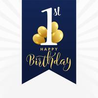 belo primeiro design de cartão de aniversário