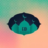 eid mubarak hälsning med moské silhuett
