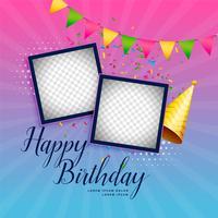 Fondo de celebración de feliz cumpleaños con marco de fotos