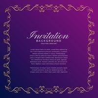Einladungshintergrund mit goldener Grenze