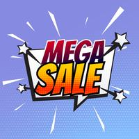 mega sale banner in comic style