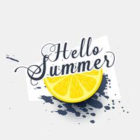 hello summer lemon grunge splash background