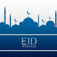 Islamischer Hintergrund des Eid Mubarak mit blauer Moschee