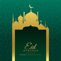 eid Mubarak wenst groet met gouden moskee