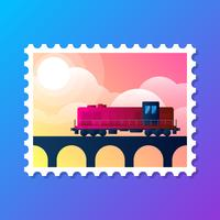 Retro Locomotive Stamp Design Logo Vector Illustration