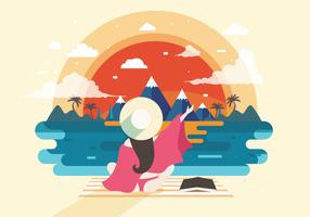 Beach Bum with Sunset View Vector