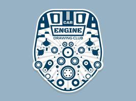 Beautiful Car Engine Drawing Vectors