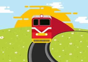 Locomotive On Railroad Vector Illustration